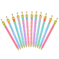 12 Pack Gel Ink Crown Pens Colorful Polka Dots Rollerball Pen Fine Point Creative Stationery for School Office Family Use Black|  -