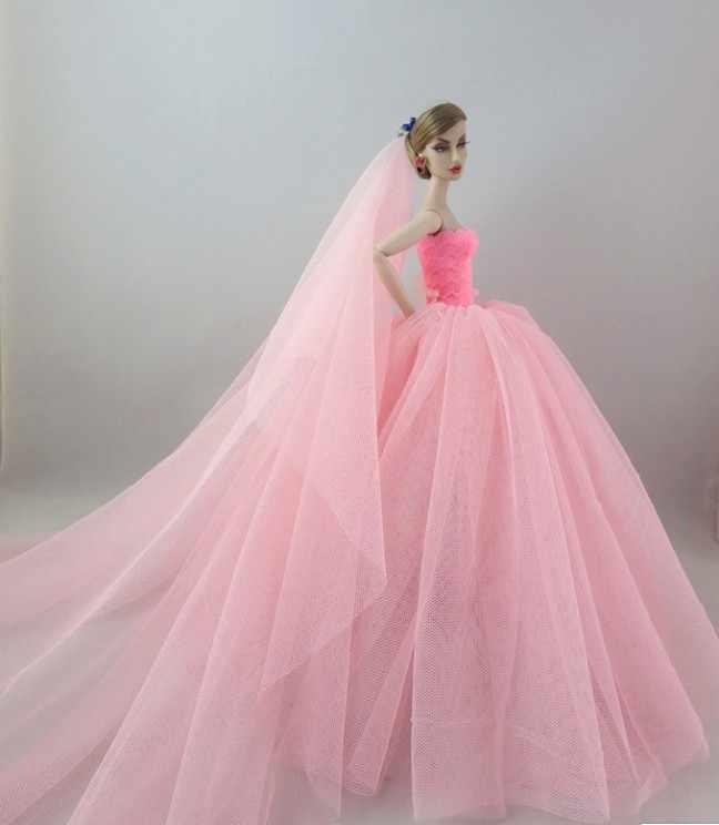Vòng Tay Dài Đuôi Áo Cưới Dạ Hội BẦU VÁY Cô Dâu Áo Voan Quần Áo Cho Búp Bê Barbie Phụ Kiện Chất Lượng Cao