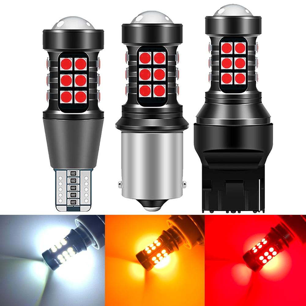 2 uds coche luces LED de marcha atrás tipo CAN bus para coche de respaldo reverso lámpara 12V W16W 921 T15 W21W 7440 T20 P21W BA15S 1156 3156 P27W 3157 T25