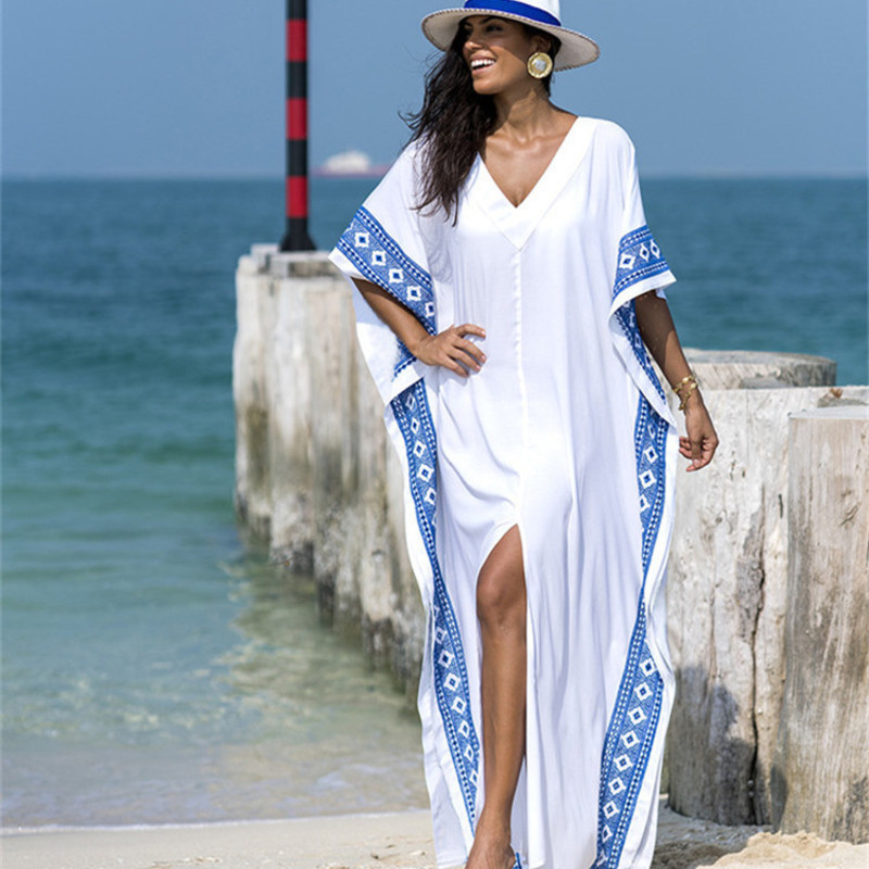 Beach Dress Tunic Pareo Women Coverup Summer Ladies Tunics Large Size Humanoid Cotton Embroidered Loose Kaftan Smock Female