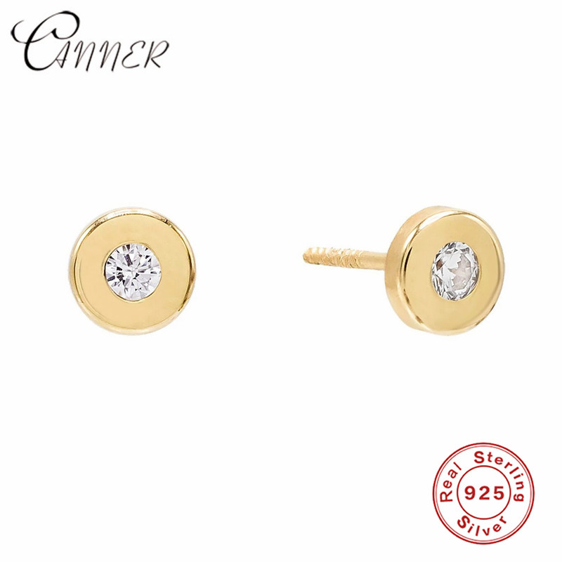 CANNER Classic Fashion 925 Sterling Silver Earrings Zircon Round Stud Earrings For Women Pendientes Mujer Shiny CZ Small Earring