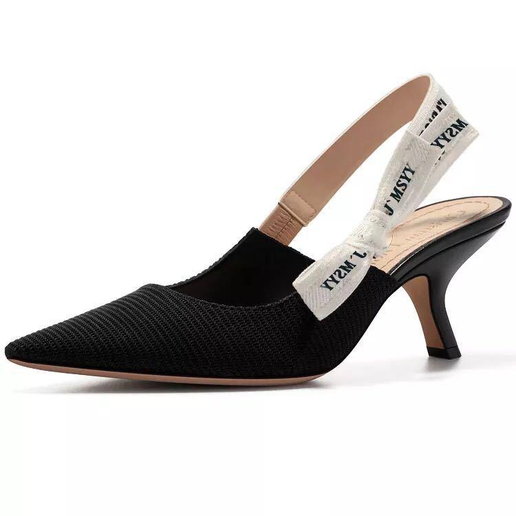 2019 Women's Shoes High Heels Bow Knots Ladies Pumps &Sandals Pointed Toe Letters Cats Heels Women's Slingback Pumps Shoes