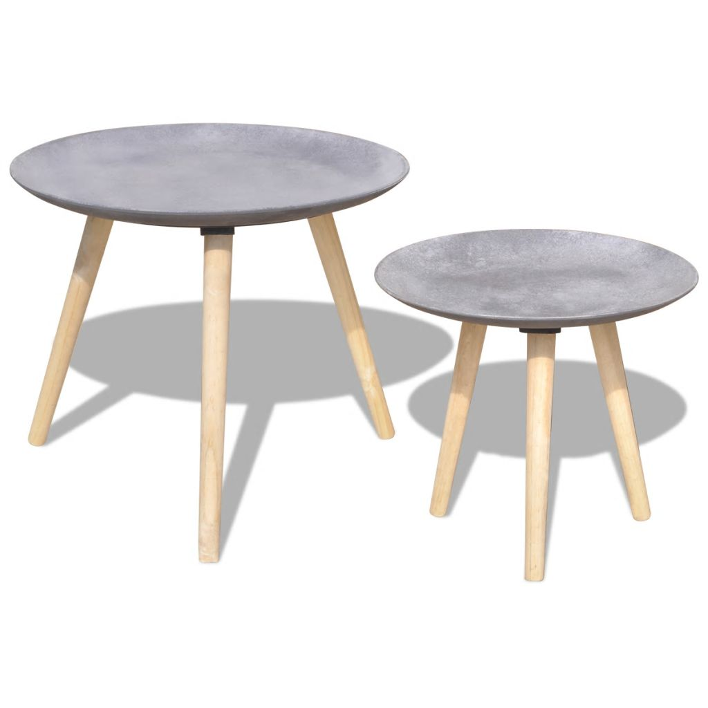 VidaXL Two Piece Side Table/Coffee Table Set 55 Cm&44 Cm Concrete Grey
