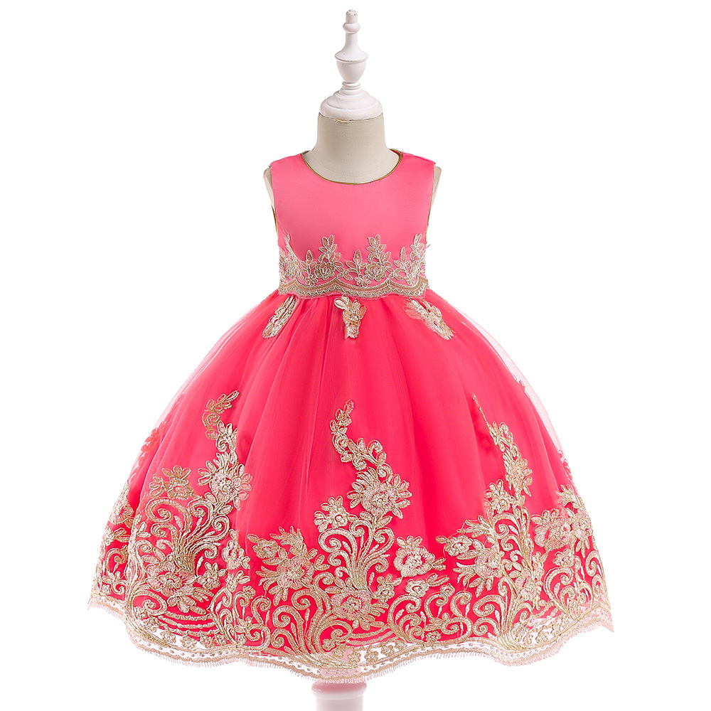 Cross Border Europe And America CHILDREN'S Garment Dress Big Boy New Style Gold Lines Embroidered Gauze Princess Skirt A Generat