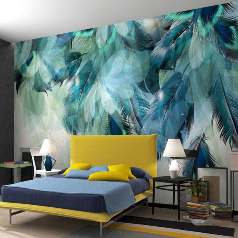 مخصص أي حجم ثلاثية الأبعاد الشمال بساطتها الأزرق ريشة جدارية الحديثة مجردة الفن خلفية جدار غرفة المعيشة في الهواء الطلق غرفة نوم ورق حائط