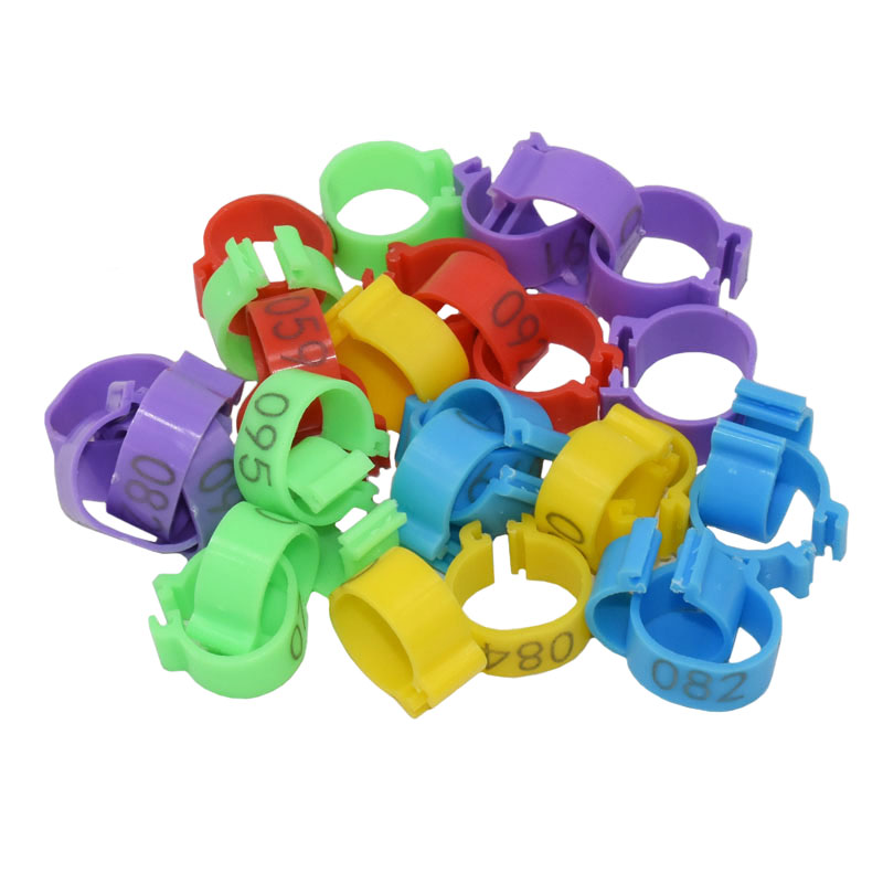 25mm 001-100 Digital Clip Ring Plastic Duck Goose Identification Foot Ring Farm Chicken Poultry Feeding supplies 100 pcs