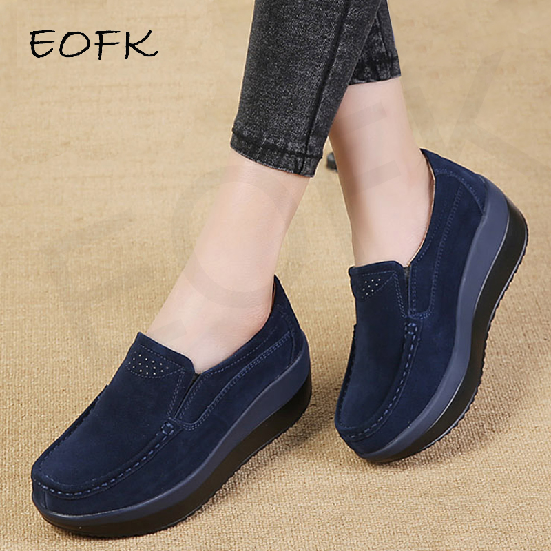 EOFK Spring Autumn Women Flats Platform Loafers Ladies Work Genuine Leather Comfort Soft Moccasins Nursing Slip On Casual Shoes