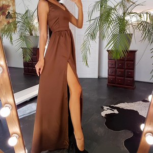 Women Sexy Maxi Dress High Split Spaghetti Strap Woman Dress For Party Club Long Summer Dress 2020 Elegant Solid Color