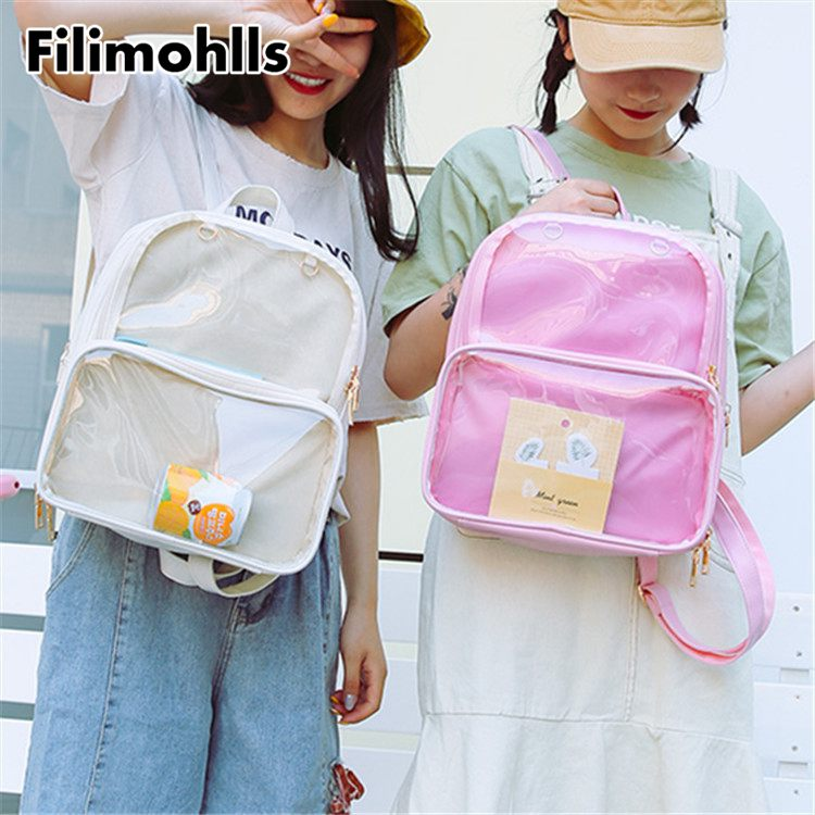 Cute Clear Transparent Women Backpacks PVC Jelly Color Student Schoolbags Fashion Teenage Girls Bags For School Backpack F-538