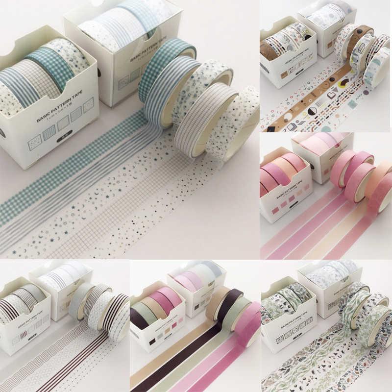 5 יח'\סט רשת Washi חמודה דקורטיבית דבק מוצק צבע מיסוך קלטת מדבקות רעיונות DIY מכתבים קלטת