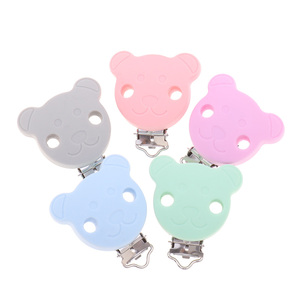 Image 2 - Fkisbox 10pc Bear Silicone Koala Nipple Holder BPA Free Mouse Pacifier Clips Baby Teether Necklace Chewing Teething Chain Clasps