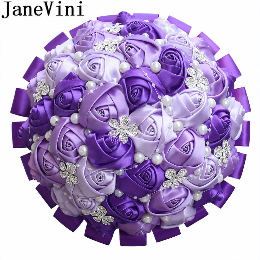 JaneVini 21cm Luxury Beaded Bridal Bouquets Satin Ribbon Pearls Crystals Bride Holding Flowers Purple Bridesmaid Wedding Bouquet