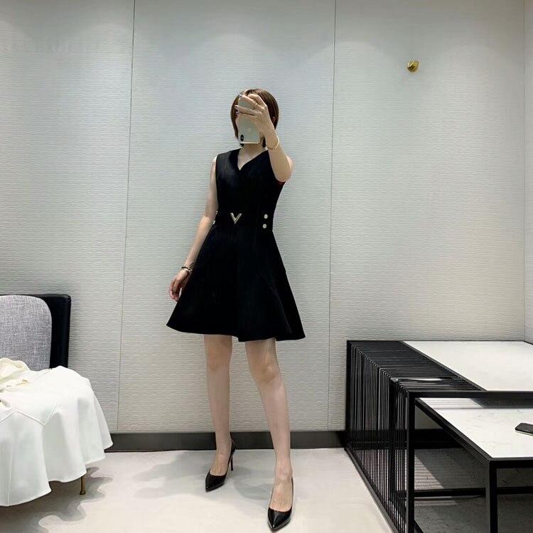 2019 herbst und Winter frauen Neue Stil Elegante Mode Hohe Qualität V ausschnitt Kleid 2 Farbe Schwarz & Weiß - 3