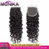 Monika Cheveux brésiliens vague d'eau fermeture 4x4 dentelle fermeture libre/moyen/trois parties Non-Remy vague Cheveux humains fermeture Cheveux Humain