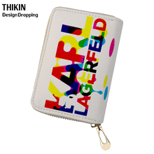THIKIN Karl Lagerfelds Colorful Print Card Holders Women Clutch PU Leather Credit Ladies Large Capacity Cover Females