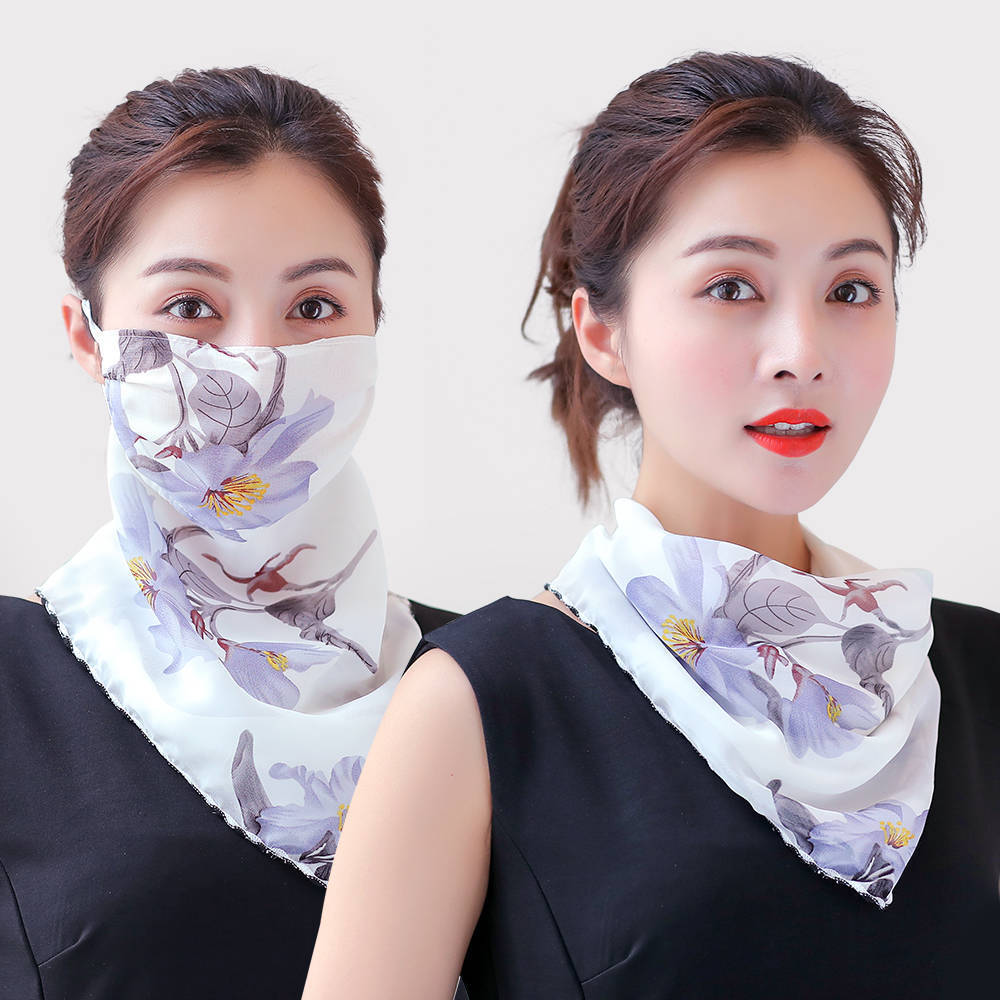 Chiffon Neck Protection Spring And Summer Mask Female Sun Mask Sunshade Scarf UV Protection Riding Breathable Scarf Veil