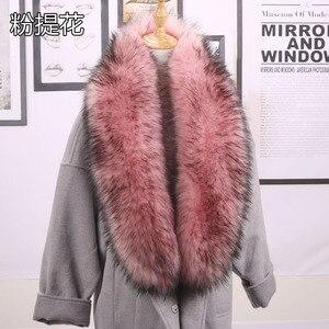 Image 5 - Qearlstar taklit kürk eşarp Supre uzun lüks ceketler ceket yaka kadınlar için 120*20cm susturucu sıcak dekorasyon şal sarar ZKG16