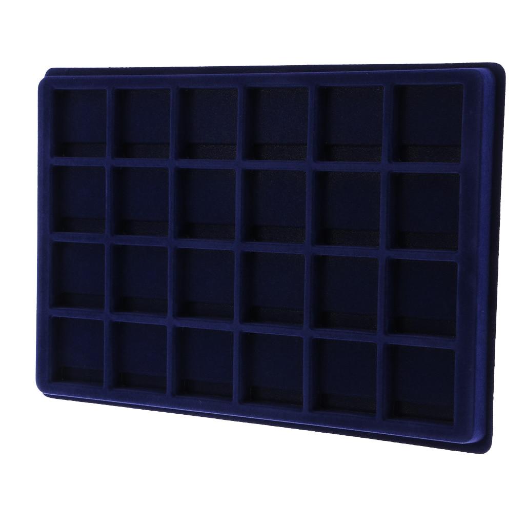 24 Grid Velvet Frame Series Coin /Jewelry Display Tray For Coin/Jewelry Display Supplies 45x45mm -Blue