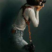 العالمي جلد طبيعي كاميرا الكتف حزام حزام DSLR كاميرا رقمية حزام واحد مزدوج الكتف حزام كاميرات اكسسوارات