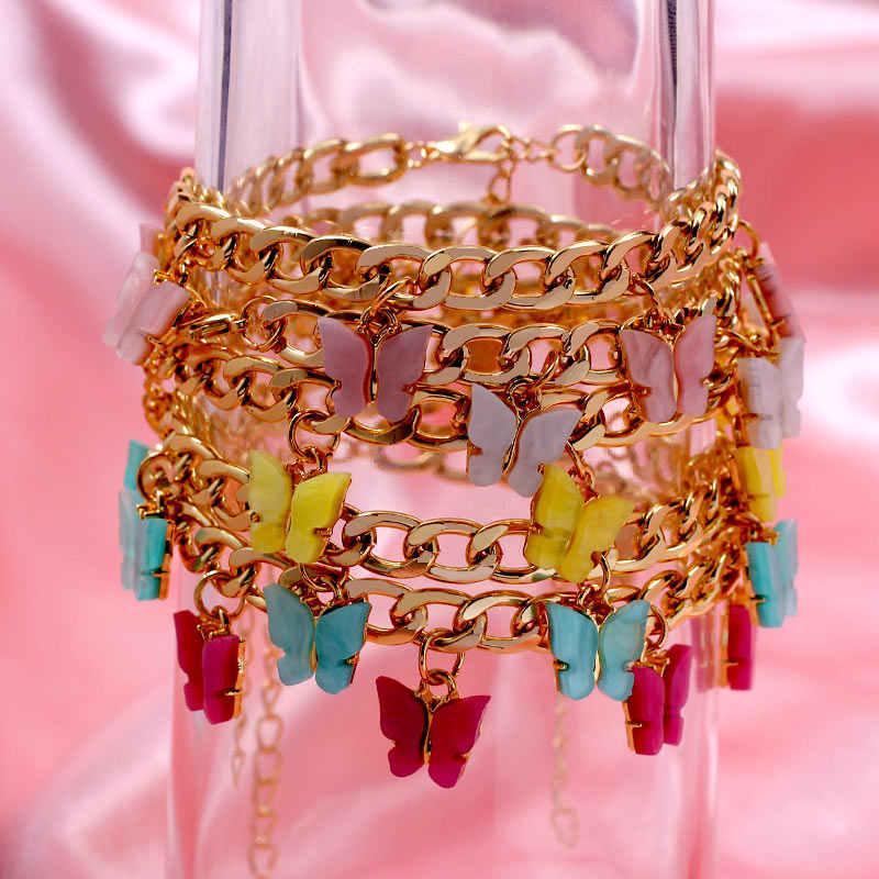 Flatfoosie yeni moda sevimli kelebek bilezikler kadınlar için altın gümüş renk 16 böcek bilezik bildirimi takı parti hediyeler