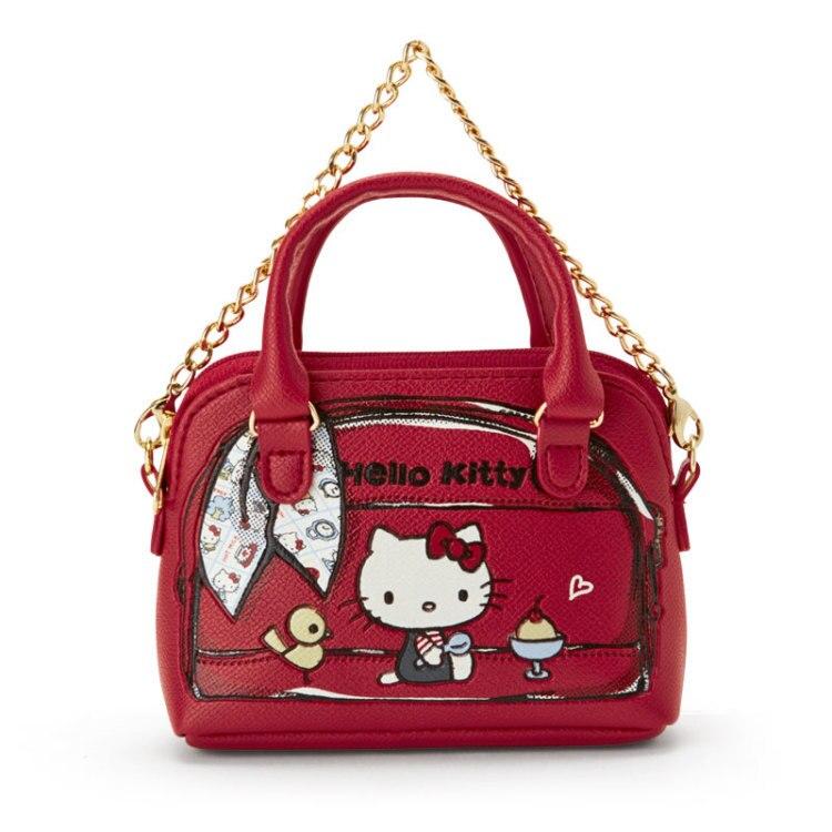 Organizador de llaves de cuero con Gato de dibujos animados para mujer y niña, monedero pequeño, BILLETERA, Mini bolso de mano, cadena roja, funda para llaves