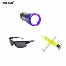 1PCS UV Flashlight,1PCS R134a R12 Car Fluorescent Oil,1PCS Leak Glasses Automotive Air Conditioning Repair Tool