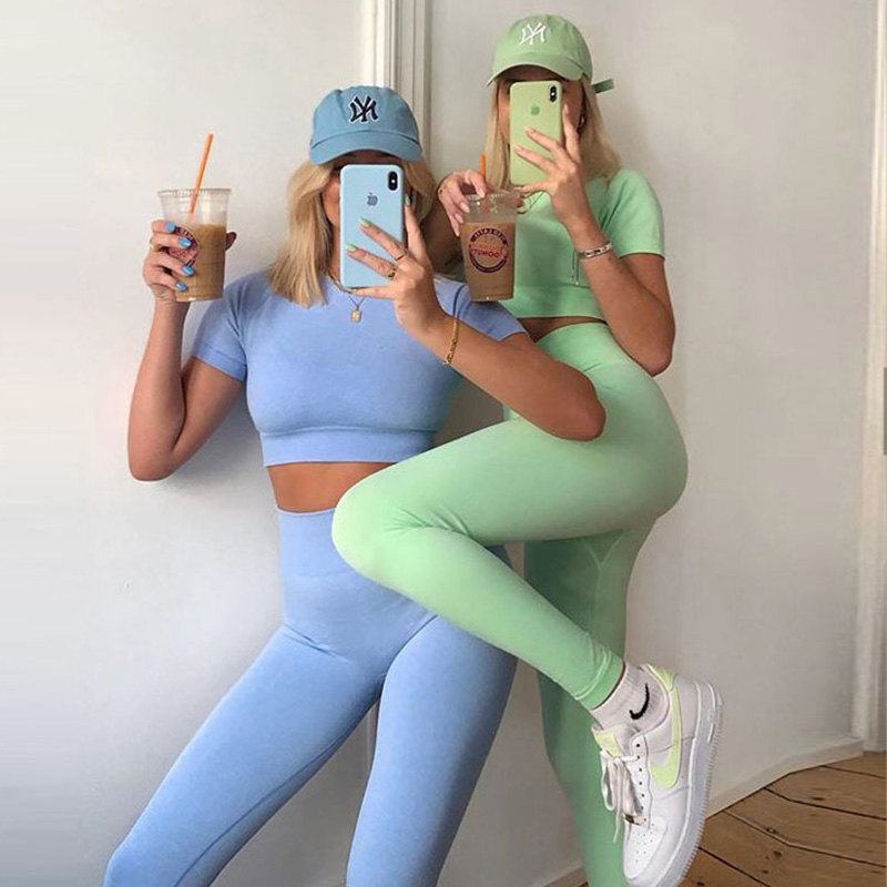 7 kolorów kobiet bez szwu zestaw jogi z krótkim rękawem krótki Top wysokiej talii legginsy sportowe odzież sportowa strój na siłownię ubrania do ćwiczeń dla kobiet