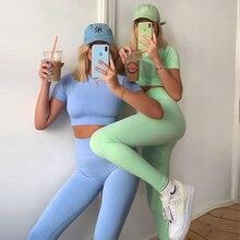 7 Kleuren Vrouwen Naadloze Yoga Set Korte Mouw Crop Top Hoge Taille Sport Leggings Active Wear Gym Pak Sportkleding voor Vrouwen