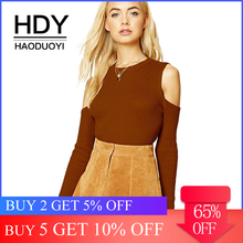 HDY Haoduoyi Apparel Solid Color Vintage Women Sweater O-neck Full Sleeve Cold Shoulder Sexy Lady Tops Knitted Casual Pullovers