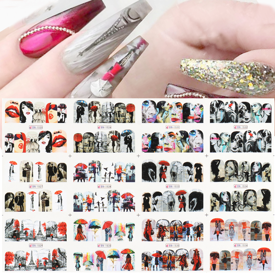12pcs Valentines Manicure Love Letter Flower Sliders for Nails Inscriptions Nail Art Decoration Water Sticker Tips GLBN1489-1500 9