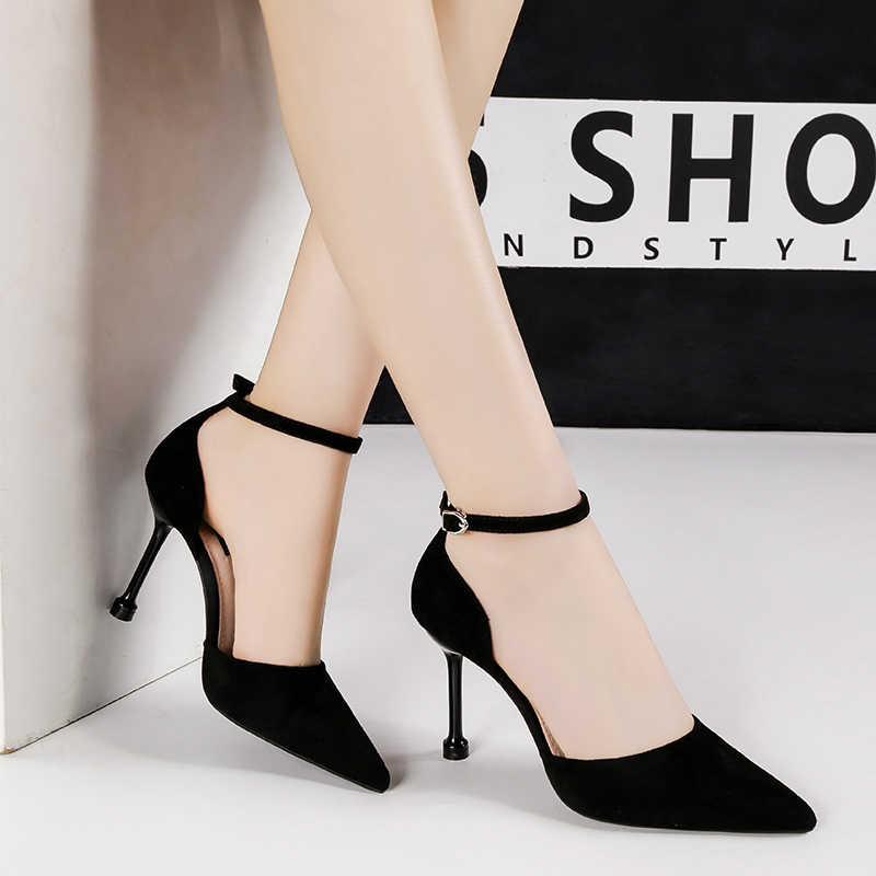 Tím Giày sandal cao gót gợi cảm văn phòng phụ nữ sự nghiệp Giày đế tacones mujer mũi nhọn nông chaussures Femme SỐ 55 Giày