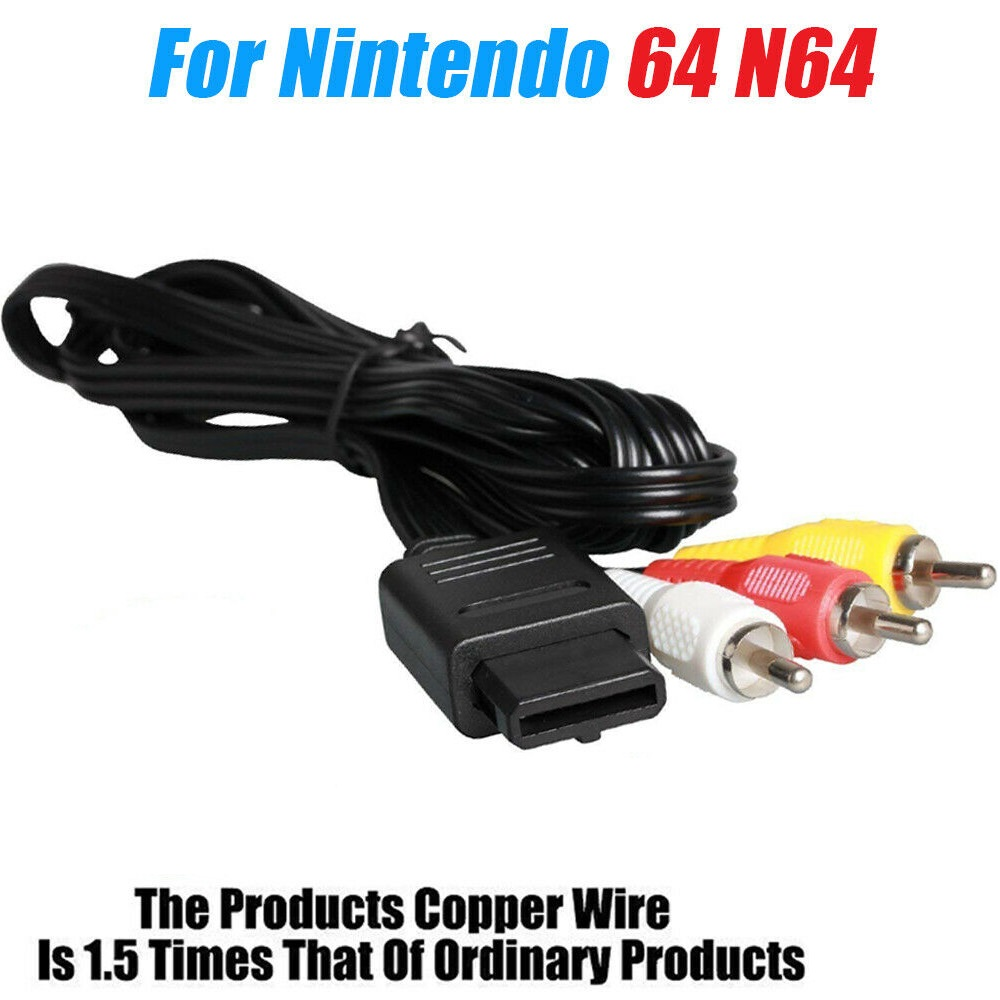 REPLACEMENT AV AUDIO VIDEO A V CABLE CORD WIRE TV GAME HTE CABLE FOR NINTENDO 64 SNES GAME CUBE