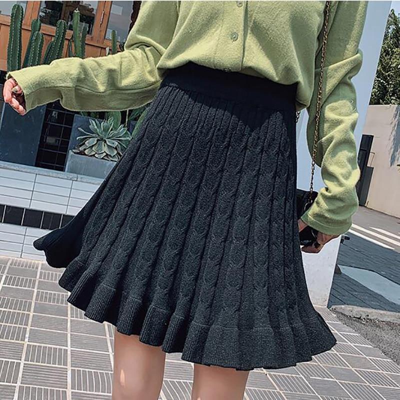 2019 Autumn Winter Women Mini Knitted Skirt Hemp Pattern Wood Ear Pleated Skirts  Knit Skirt Short Spodnica Ropa Mujer Student