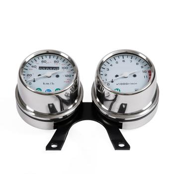 New Stainless Steel Motorcycle Mechanical Odometer Speedometer And Engine Speed Instrument Cafe Racer