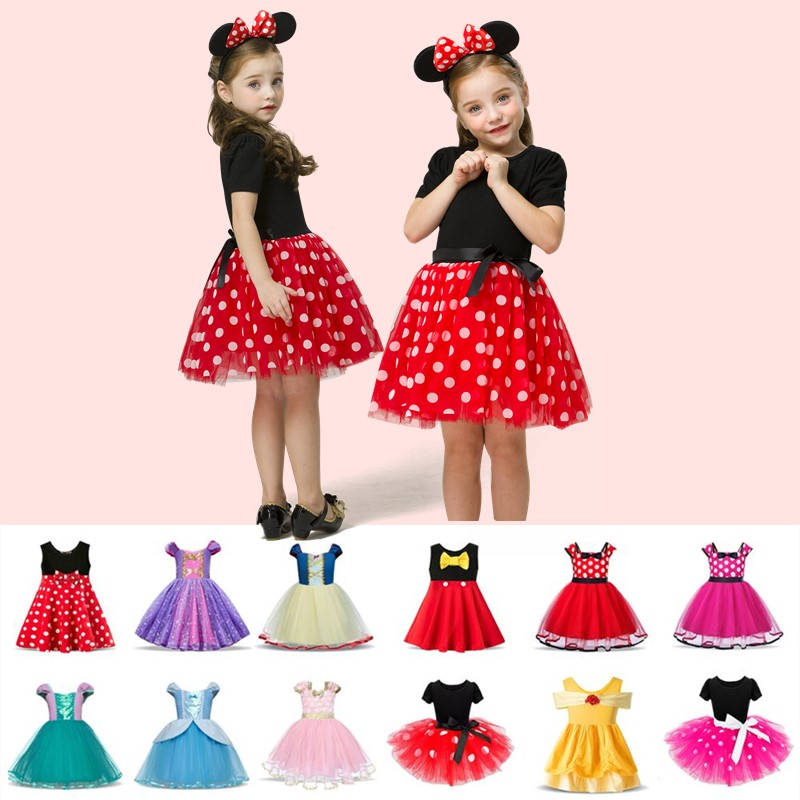 Fancy Minnie Mouse Dress 1 Year Birthday Dress For Christmas Costume Cosplay  Up Kid Christmas Costume Polka Dot KidsVestidos 5t