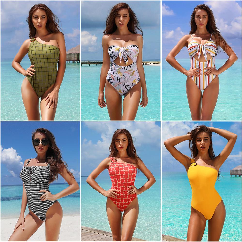 جديد إمرأة قطعة واحدة مجموعة الجوف عقدة ملابس السباحة مثير رفع مخطط طباعة ملابس السباحة حجم كبير بحر Famale لباس سباحة