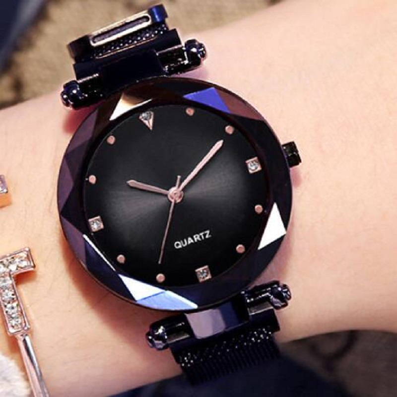 Роскошные женские часы, розовое золото, звездное небо, магнитная сетка, горный хрусталь, кварцевые наручные часы, женские часы с бриллиантам...