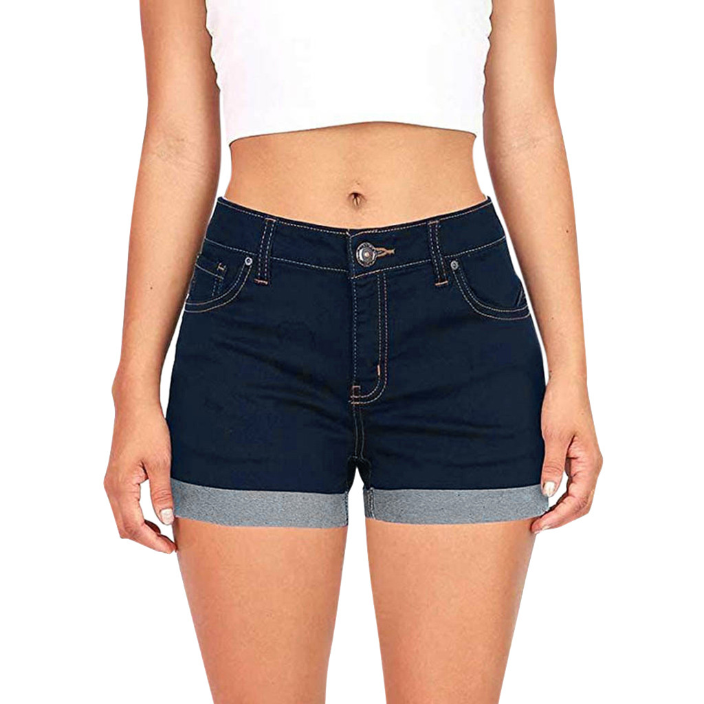 Fashion Low Waisted Washed Denim Shorts Female Short Jeans For Women 2019 Summer Ladies Hot Shorts Solid Crimping Denim Shorts