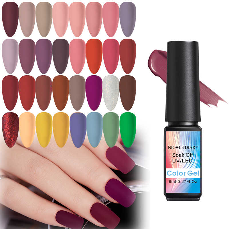Nicole Buku Harian 8 Ml Uv Gel Nail Polish Matte Top Coat Uv Gel Varnish Hybrid Rendam Off Nail Art Pernis UV LED Gel Seni Gel