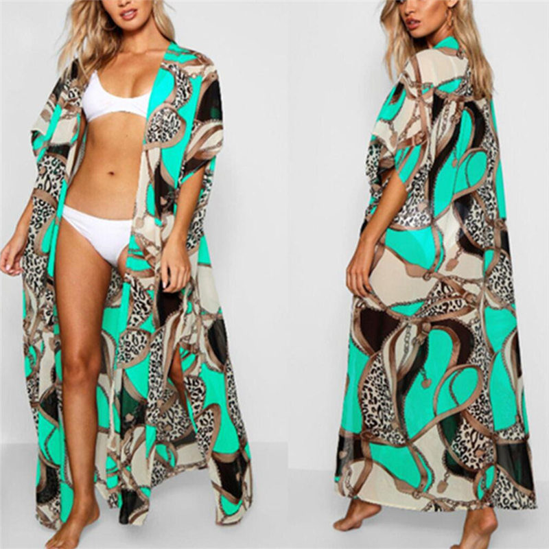 2019 Long Print Beach Cover Up Pareos De Playa Mujer Beachwear Plus Size Bikini Cover Up Robe De Plage Sarong Cotton Tunic #Q700