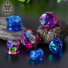 KUBOOZ Fashionable Newest Foil Blue Red Acrylic Ear Piercing Plugs Gauges Expanders Body Jewelry Ear Tunnels Stretchers One Pair