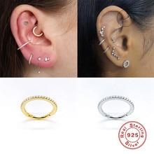 2020 kobieta kolczyki 925 srebro Huggies Pendientes błyszczący kryształ chrząstka kolczyki w kształcie obręczy kość do ucha kolczyk Piercing klamra
