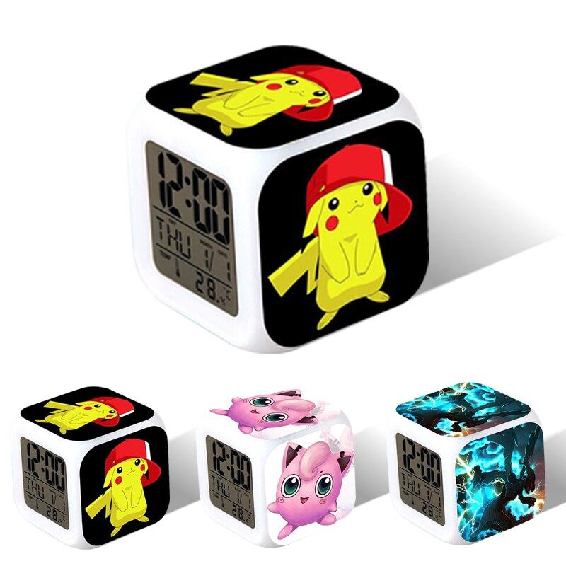 Pokémon Alarm Clock chlid LED Digital Desk Watch Clock Color Changing Light Night Glowing Kids Desk Clock Children Gift for Kids