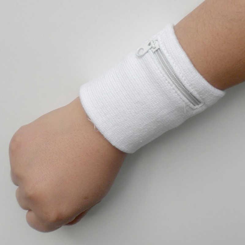 1 PC ผ้าฝ้ายสายรัดข้อมือกีฬา Sweatband ซิปกระเป๋าสตางค์สำหรับวิ่งบาสเกตบอลเทนนิสเหงื่อสายรัดข้อมือ Wraps GUARD