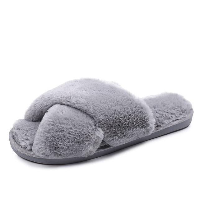 Inverno feminino casa chinelos de pele do falso moda quente sapatos mulher deslizamento em apartamentos feminino slides preto rosa aconchegante casa peludo chinelos 6