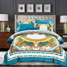 High-end French Italy Design Yellow Pattern Print 4PCS King Queen Size Quilts White Blue Gold Bed sheet Luxury Bedding Sets
