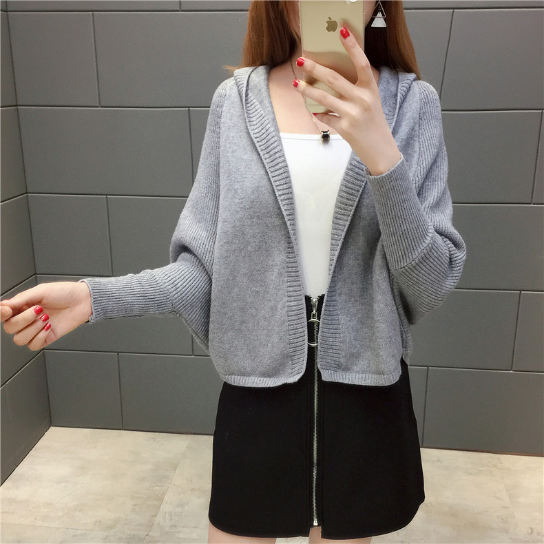 2019 Free send New style Korean loose and comfortable Autumn women Cardigan Sleeve of bat Hooded Sweater coat 130