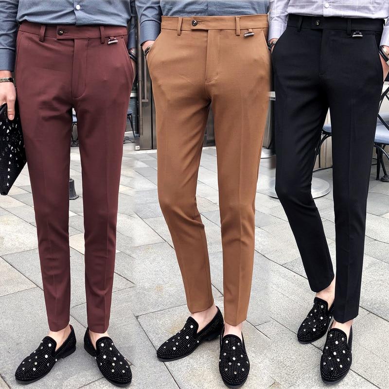 Elastic Calcas Social Masculina Slim Fit Khaki Suit Trousers Burgundy Man Formal Pants Winter Men Dress Pants Slim Fit Black