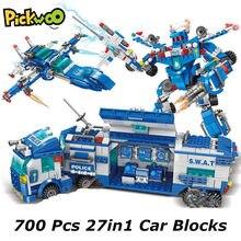 Pickwoo d16 340 a 1136 pcs cidade polícia estação blocos de construção do carro sede caminhão swat militar modelo tijolos brinquedos