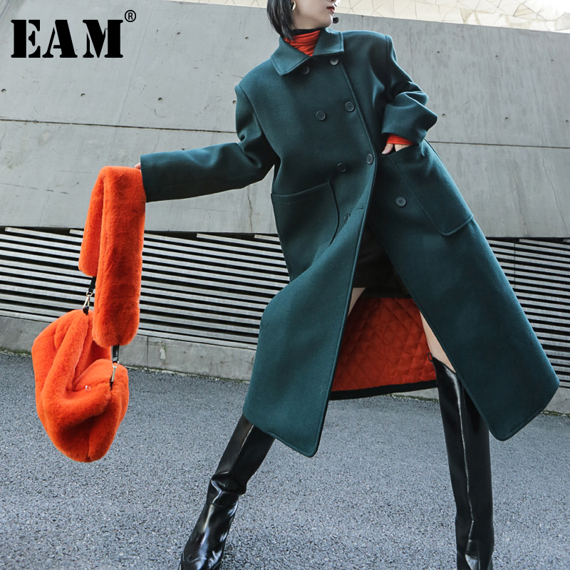 [EAM] Loose Fit Green Big Size Warm Long Woolen Coat Parkas New Long Sleeve Women Fashion Tide Spring Autumn 2020 19A-a317-06